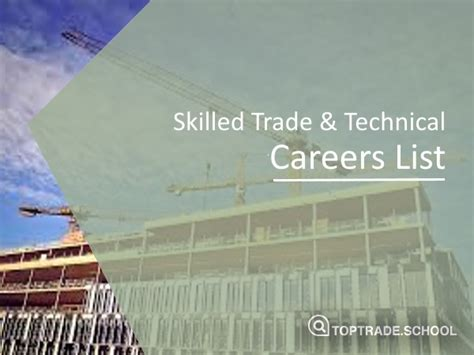 List of 26 Skilled Trade & Technical Careers | Top Trade ...