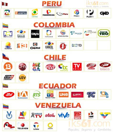 Lista de canales Nacionales Peru, Colombia, Chile, Ecuador ...