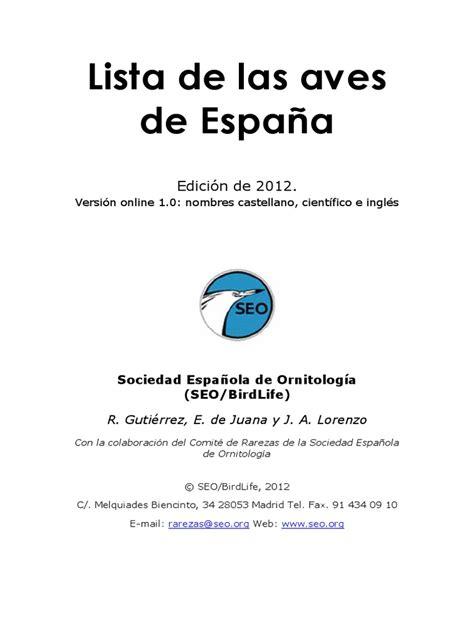 Lista de las aves de España   Especies   Vertebrados de Europa