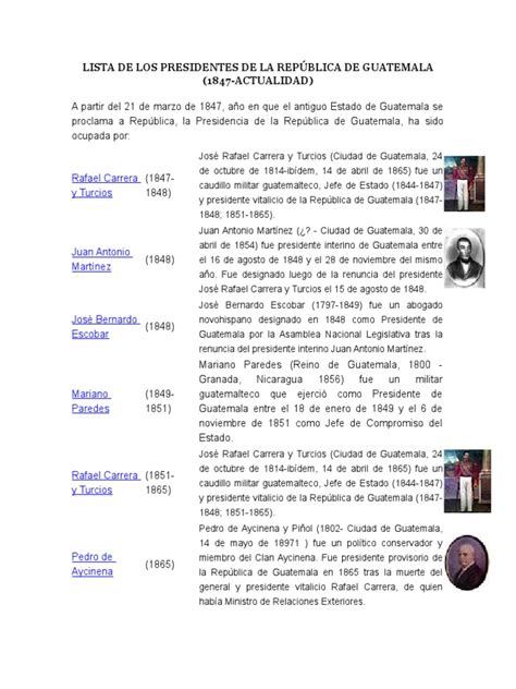 Lista de Los Presidentes de La República de Guatemala ...