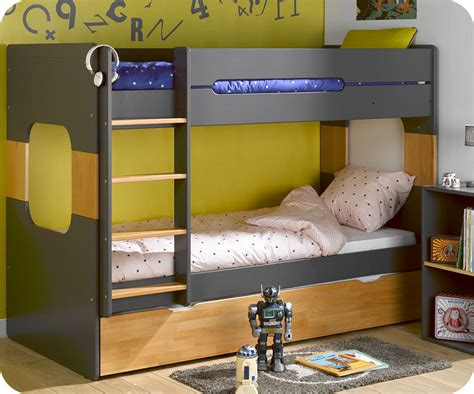 Litera 90x200cm con cama nido en gris antracita y haya