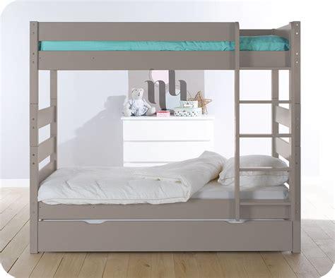 Litera alta con cama nido, color lino. 90x190 cm