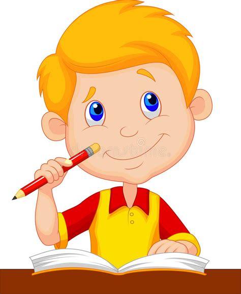 Little Boy Cartoon Studying Stock Vector   Illustration of ...