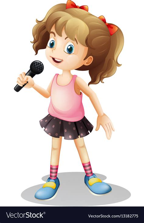 Little girl singing song Royalty Free Vector Image