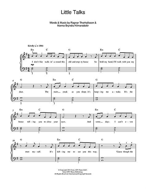 Little Talks sheet music by Of Monsters And Men  Beginner ...