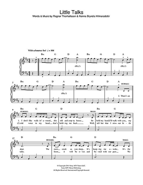 Little Talks sheet music by Of Monsters And Men  Easy ...