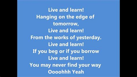 Live and Learn Lyrics   YouTube
