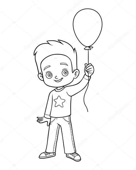 Livro de colorir, o menino e o balão — Vetores de Stock ...