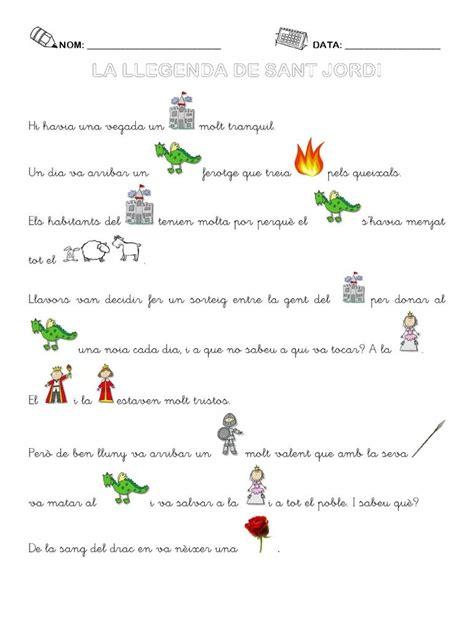 Llegenda de Sant Jordi amb pictogrames elaborada per ...