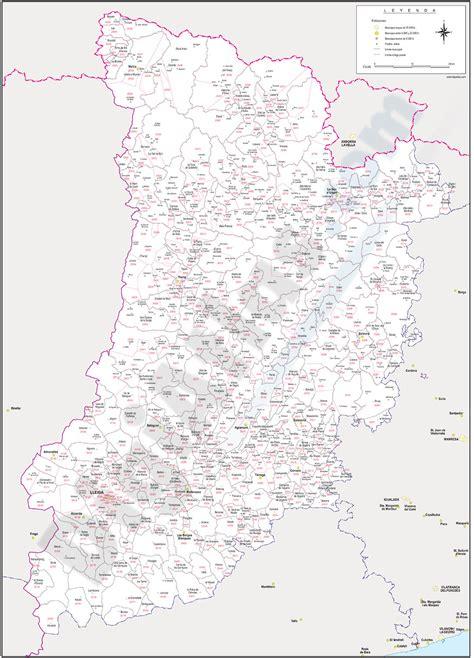 Lleida   mapa provincial con municipios y códigos postales
