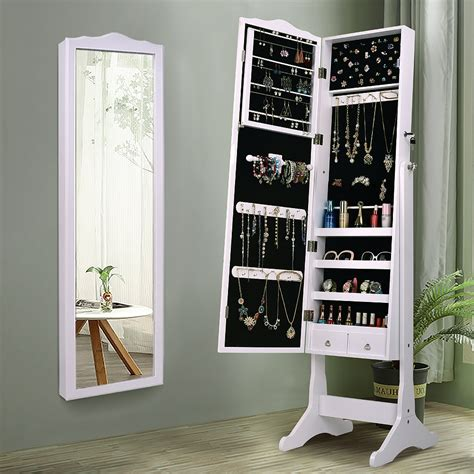 Lockable Mirrored Jewelry Cabinet Armoire Mirror Organizer ...