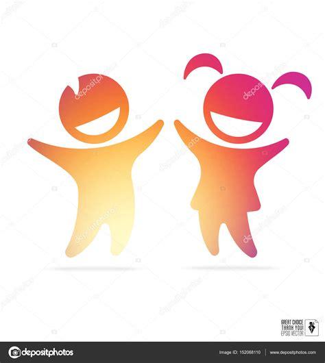 Logo nino | Silueta de niños felices: niño y niña con ...