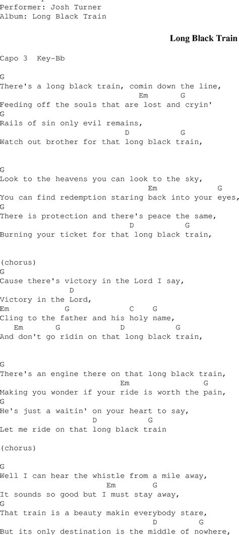 Long Black Train   Christian Gospel Song Lyrics and Chords
