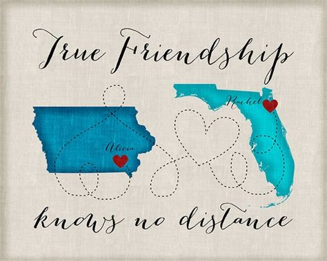 Long Distance Best Friend Gift Friendship Quotes Customized