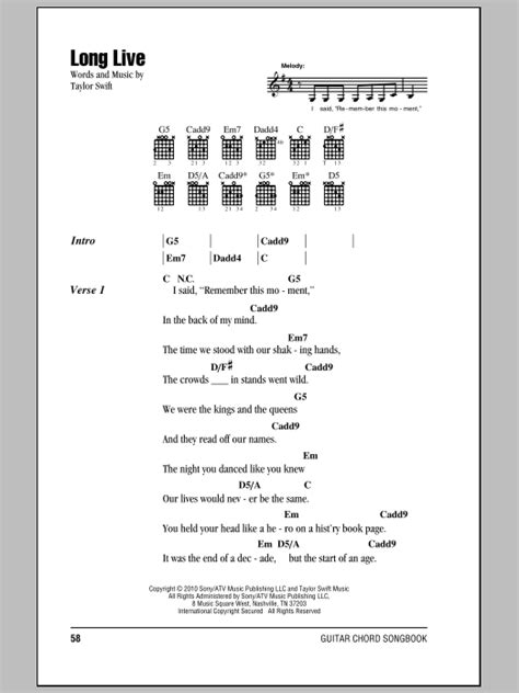 Long Live by Taylor Swift   Guitar Chords/Lyrics   Guitar ...