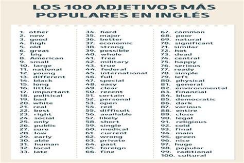 Los 100 adjetivos mas populares en ingles   Adjetivos ...