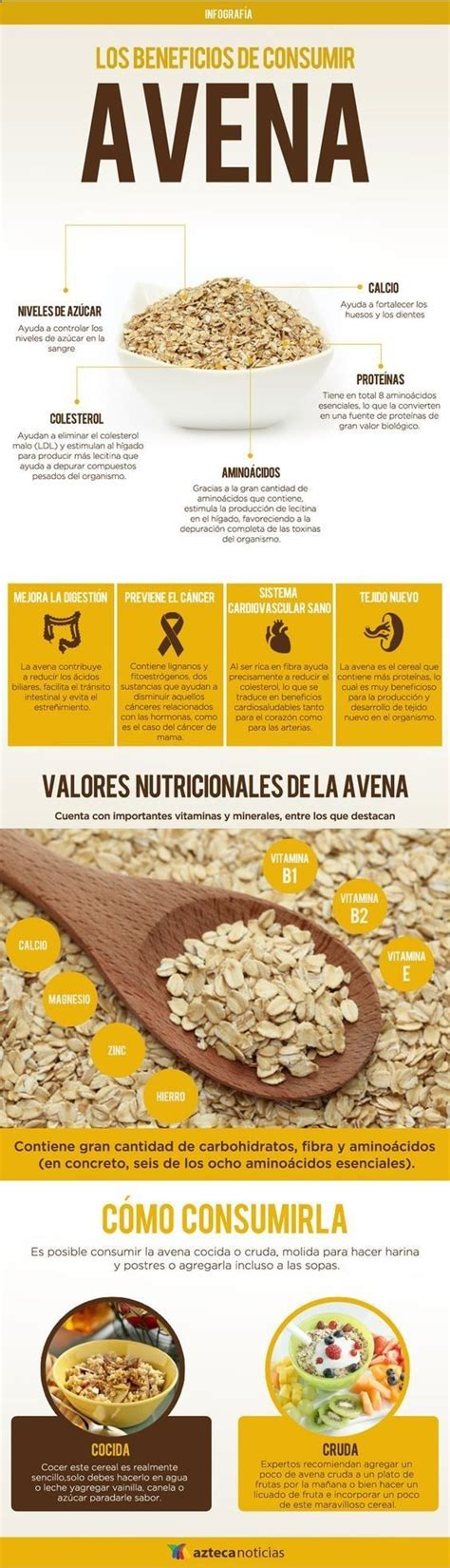 Los beneficios de consumir avena #infografia:   Beneficios ...