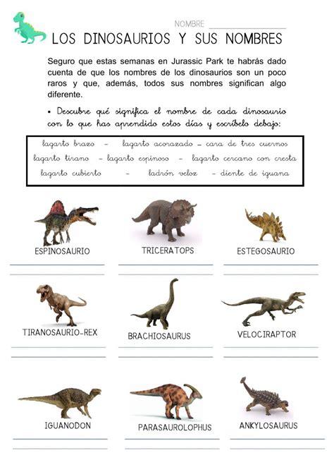 Los dinosaurios y sus nombres   Interactive worksheet