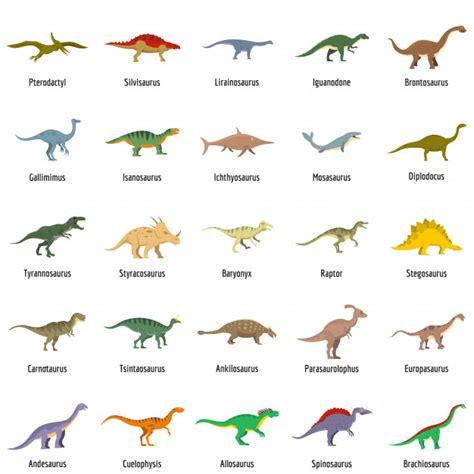 Los tipos de dinosaurios firmaron los iconos de nombre ...