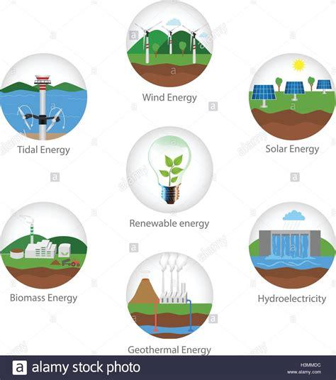Los tipos de energía renovable. Vector iconos de plantas ...