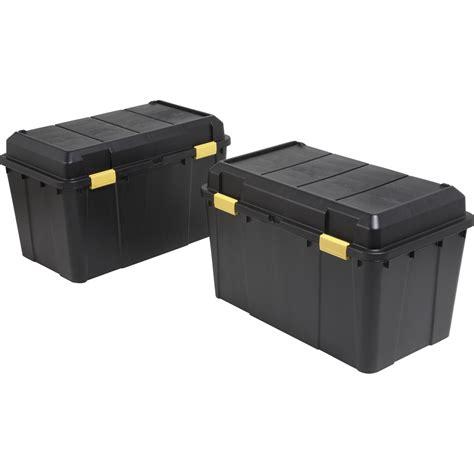 Lot de 2 malles en plastiques, 115 litres, noires | Leroy ...