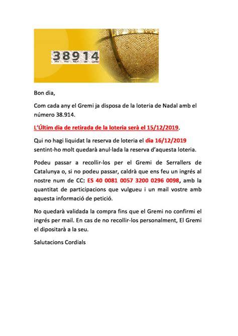 LOTERIA 2019   Gremi de Serrallers de Catalunya