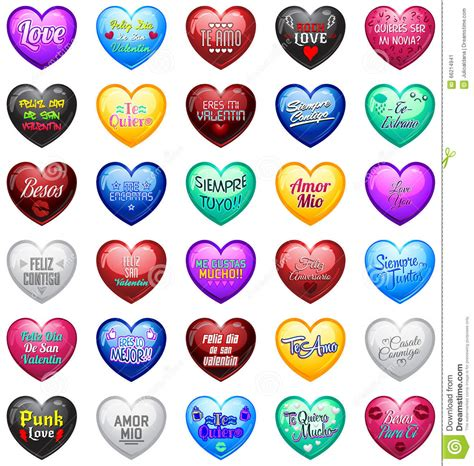 Love Hearts With Spanish Messages Stock Vector ...