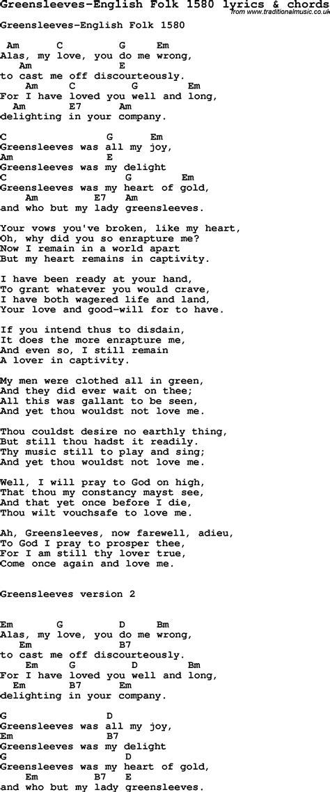 Love Song Lyrics for:Greensleeves English Folk 1580 with ...