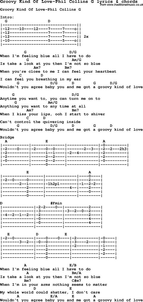 Love Song Lyrics for: Groovy Kind Of Love Phil Collins G ...