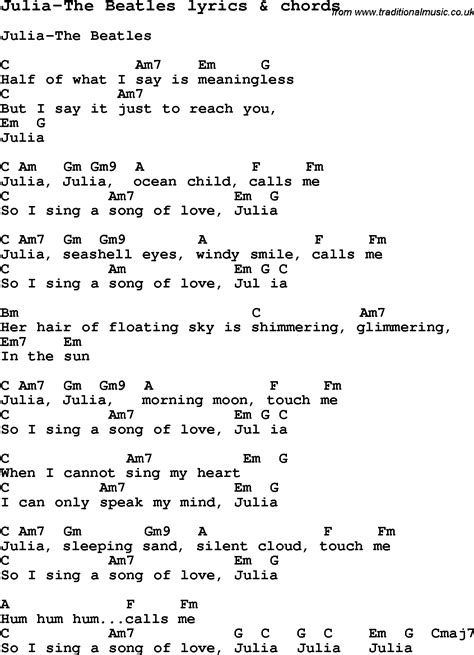 Love Song Lyrics for: Julia The Beatles with chords for ...