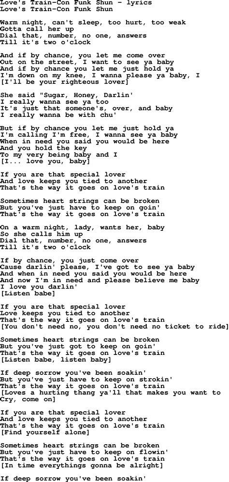Love Song Lyrics for:Love s Train Con Funk Shun