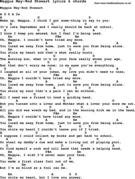 Love Song Lyrics for: Maggie May Rod Stewart with chords ...