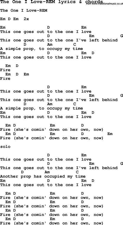 Love Song Lyrics for: The One I Love REM with chords for ...