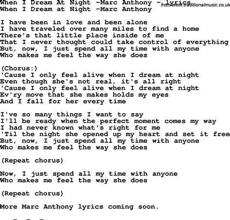 Love Song Lyrics for:When I Dream At Night  Marc Anthony