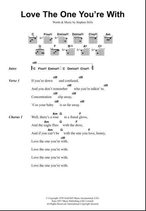 Love The One You re With   Guitar Chords/Lyrics   zZounds