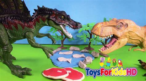 Luchas de Dinosaurios Spinosaurus V/S T  Rex   Videos de ...