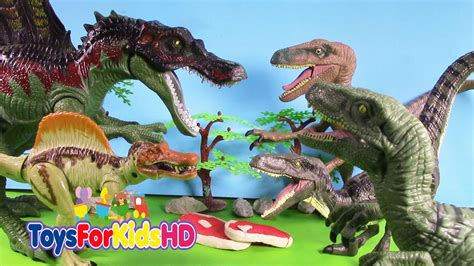 Luchas de dinosaurios Spinosaurus V/S Velociraptor ...