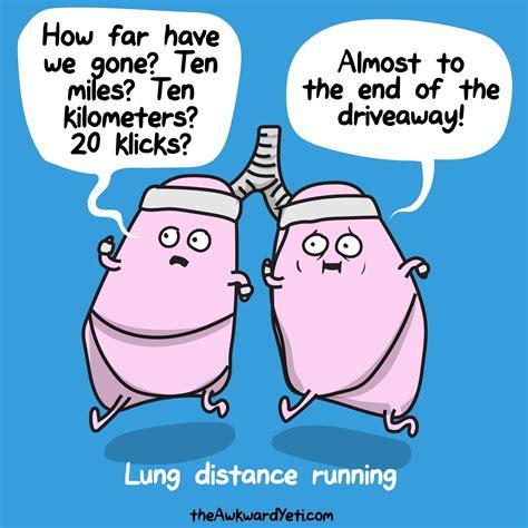 Lung distance running jokes funny | Awkward yeti, Running ...