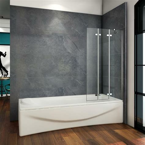 Luxury 1000x1400mm 3 Fold Folding Bath Shower Screen ...