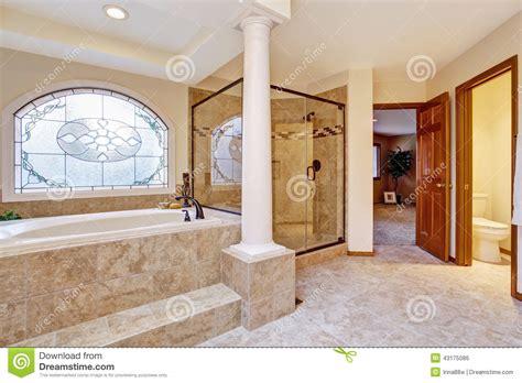 Luxury Bathroom Interior With Columns Stock Photo   Image ...