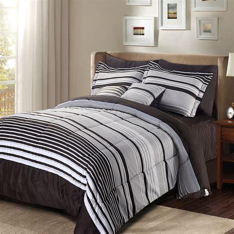 Luxury Stripe Bedding 8 Piece Comforter Set Striped ...