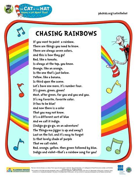 Lyrics to the CITH Chasing Rainbows Song.   Preschool ...
