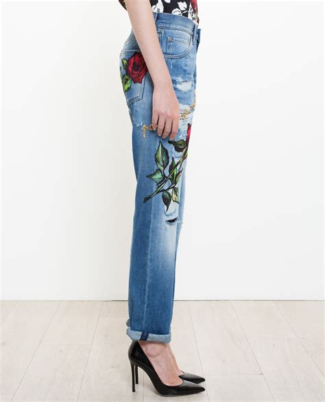 Lyst   Dolce & Gabbana Roses Embroidered Jeans in Blue