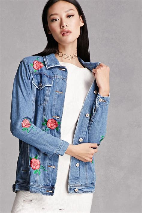 Lyst   Forever 21 Rose Embroidered Denim Jacket in Blue