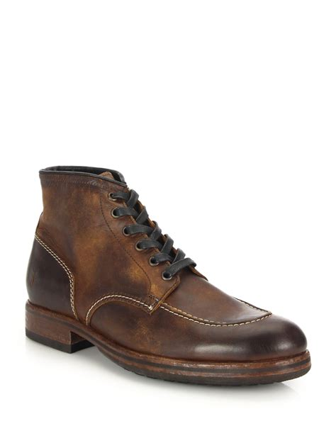 Lyst   Frye Wilson Mid top Leather Lace up Boots in Brown ...