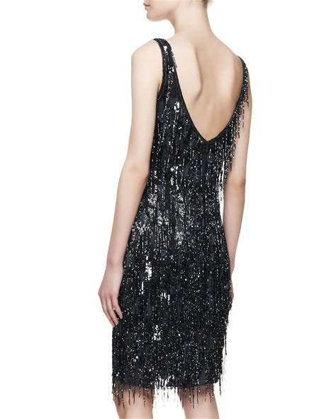 Lyst   THEIA Sleeveless Beaded Fringe Cocktail Dress in Blue