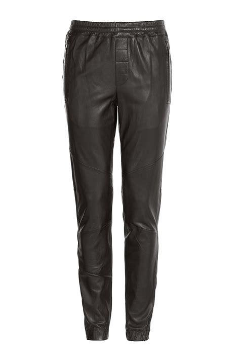 Lyst   Vince Leather Jogging Pants   Black in Black for Men