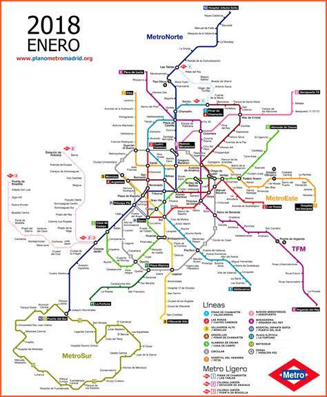 Madrid Metro Map, updated 2018.