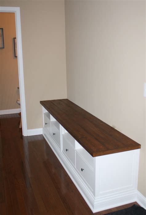 Making mudroom storage from an IKEA hack