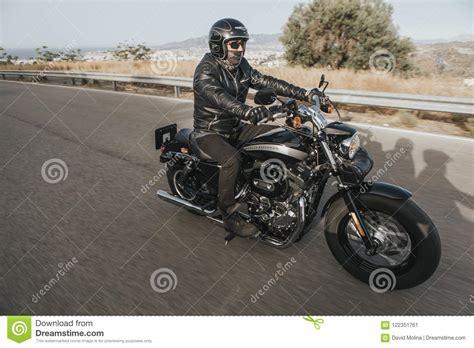 Malaga, Spain   July 15, 2018: Man Riding His Harley ...